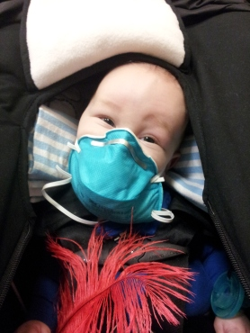 At the hospital for a CBG. He thought the mask was hilarious! Me not so much...