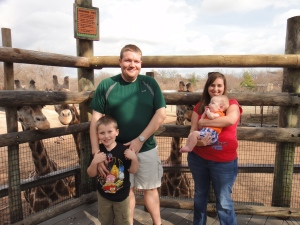 Family photo with the giraffes