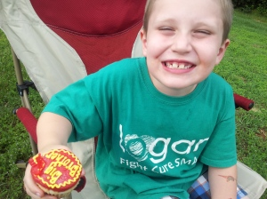 Lucas with his special Big Brother cupcake